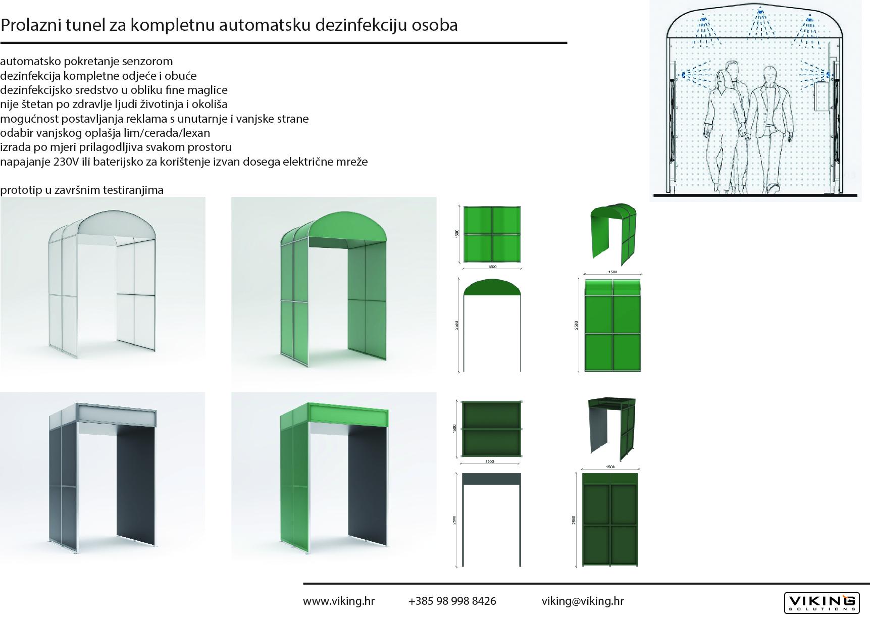 Prolazni tunel za kompletnu automatsku dezinfekciju osoba